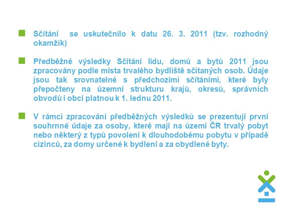  Sčítání se uskutečnilo k datu 26. 3. 2011 (tzv.
