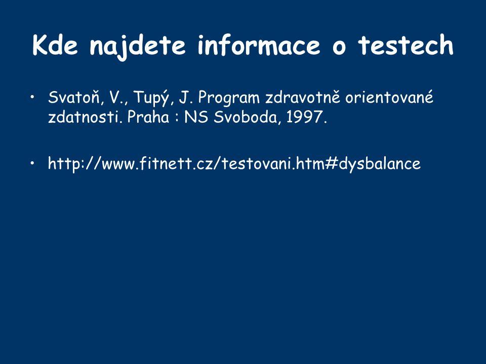 Kde najdete informace o testech Svatoň, V., Tupý, J. Program zdravotně orientované zdatnosti. Praha : NS Svoboda, 1997. http://www.fitnett.cz/testovan