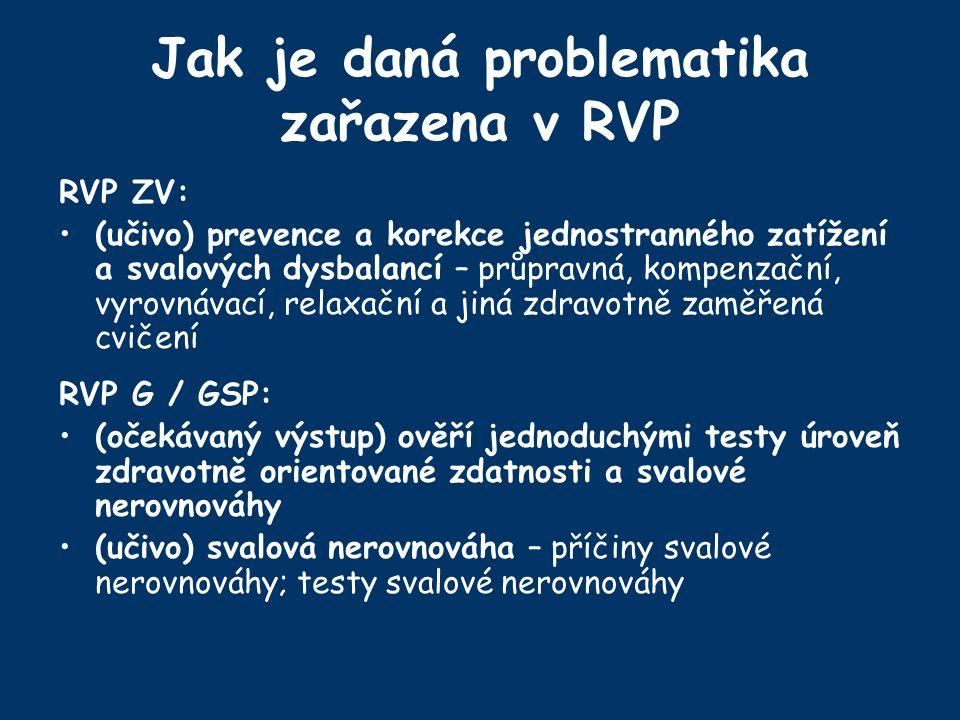 Jak je daná problematika zařazena v RVP RVP ZV: (učivo) prevence a korekce jednostranného zatížení a svalových dysbalancí – průpravná, kompenzační, vyrovnávací, relaxační a jiná zdravotně zaměřená cvičení RVP G / GSP: (očekávaný výstup) ověří jednoduchými testy úroveň zdravotně orientované zdatnosti a svalové nerovnováhy (učivo) svalová nerovnováha – příčiny svalové nerovnováhy; testy svalové nerovnováhy