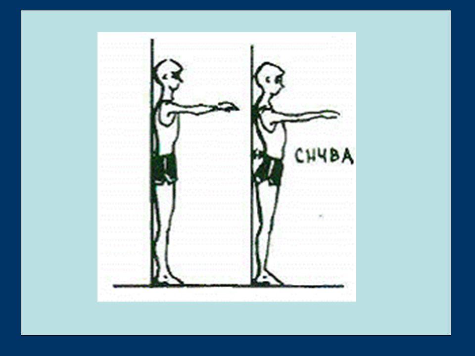 S čím se nejčastěji setkáváme ochablé držení těla hyperlordotické držení těla (velké prohnutí v bedrech a krční páteři) hyperkyfotické držení těla (kulatá záda) skoliotické držení těla =kombinace těchto oslabení → svalové dysbalance mezi kosterními svaly posturálními (tendence ke zkracování) a fázickými (tendence k ochabování) Z metodického hlediska je třeba začít s protahováním zkrácených svalů, když je zkrácení odstraněno, lze cíleně posylovat ochablé svaly.