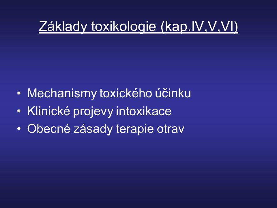 Základy toxikologie (kap.IV,V,VI) Mechanismy toxického účinku Klinické projevy intoxikace Obecné zásady terapie otrav
