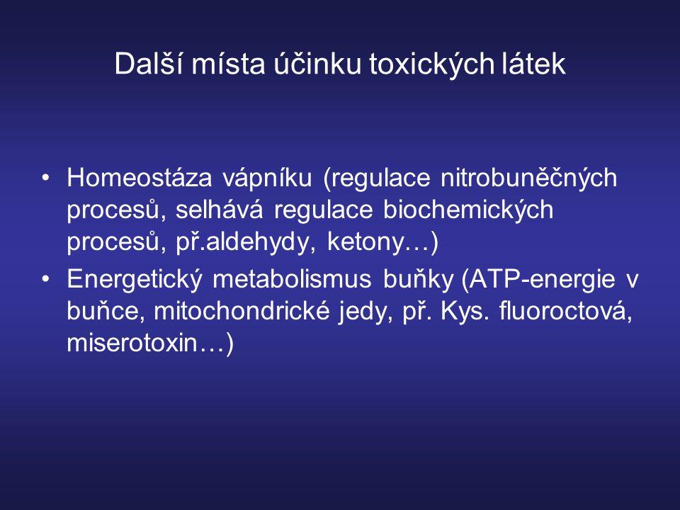 Další místa účinku toxických látek Homeostáza vápníku (regulace nitrobuněčných procesů, selhává regulace biochemických procesů, př.aldehydy, ketony…) Energetický metabolismus buňky (ATP-energie v buňce, mitochondrické jedy, př.