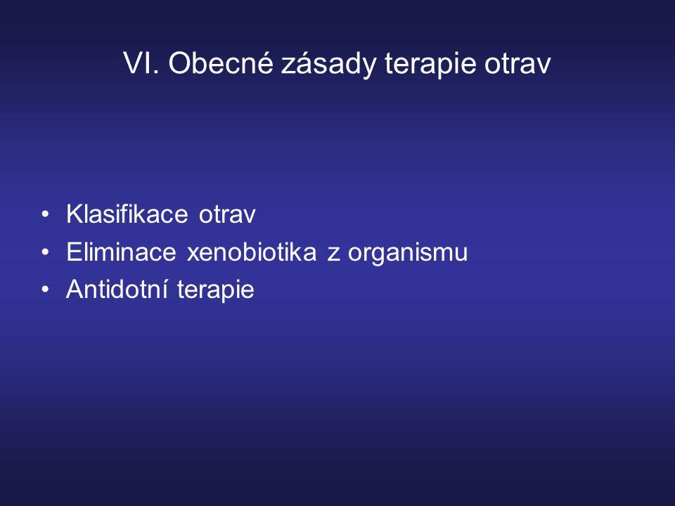 VI. Obecné zásady terapie otrav Klasifikace otrav Eliminace xenobiotika z organismu Antidotní terapie