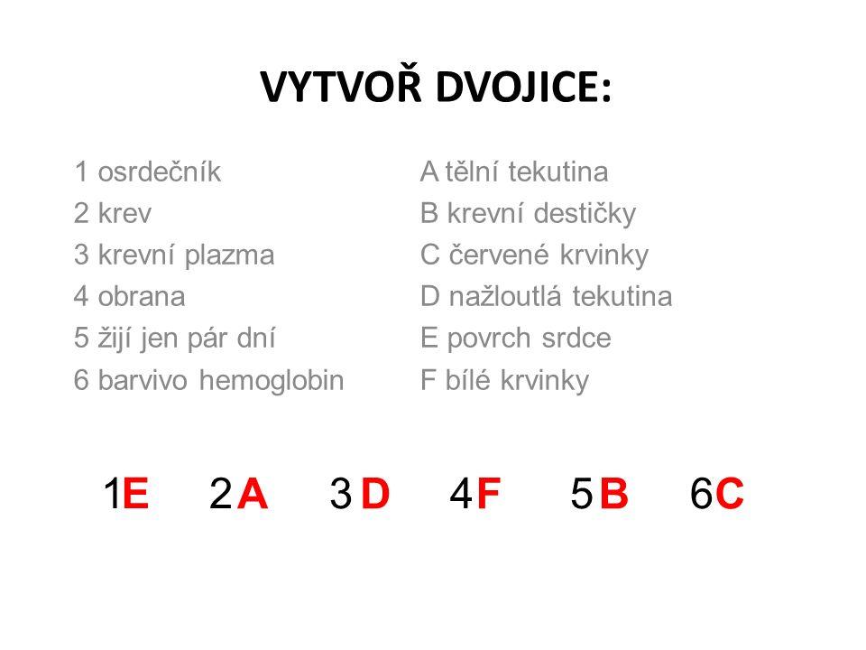 VYTVOŘ DVOJICE: 1 osrdečníkA tělní tekutina 2 krevB krevní destičky 3 krevní plazmaC červené krvinky 4 obranaD nažloutlá tekutina 5 žijí jen pár dníE povrch srdce 6 barvivo hemoglobinF bílé krvinky 1 2 3 4 5 6E ADFBC