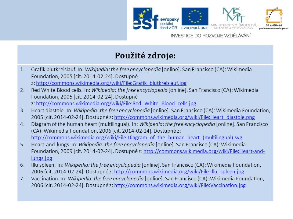 Použité zdroje: 1.Grafik blutkreislauf. In: Wikipedia: the free encyclopedia [online].