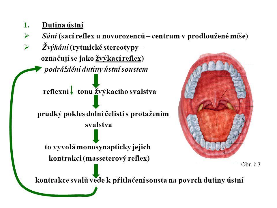 1.Dutina ústní  Sání (sací reflex u novorozenců – centrum v prodloužené míše)  Žvýkání (rytmické stereotypy – označují se jako žvýkací reflex) podráždění dutiny ústní soustem reflexní tonu žvýkacího svalstva prudký pokles dolní čelisti s protažením svalstva to vyvolá monosynapticky jejich kontrakci (masseterový reflex) kontrakce svalů vede k přitlačení sousta na povrch dutiny ústní Obr.