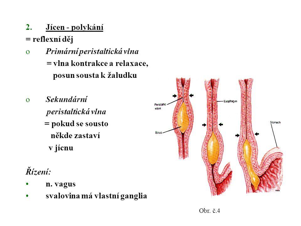 2.Jícen - polykání = reflexní děj oPrimární peristaltická vlna = vlna kontrakce a relaxace, posun sousta k žaludku oSekundární peristaltická vlna = pokud se sousto někde zastaví v jícnu Řízení: n.