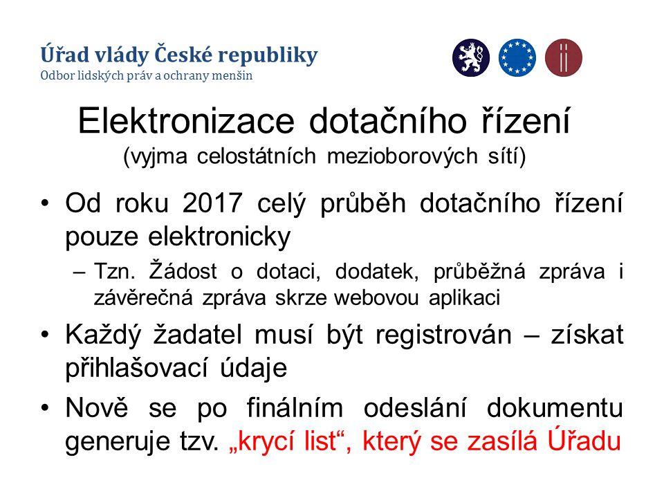 Elektronizace dotačního řízení (vyjma celostátních mezioborových sítí) Od roku 2017 celý průběh dotačního řízení pouze elektronicky –Tzn. Žádost o dot