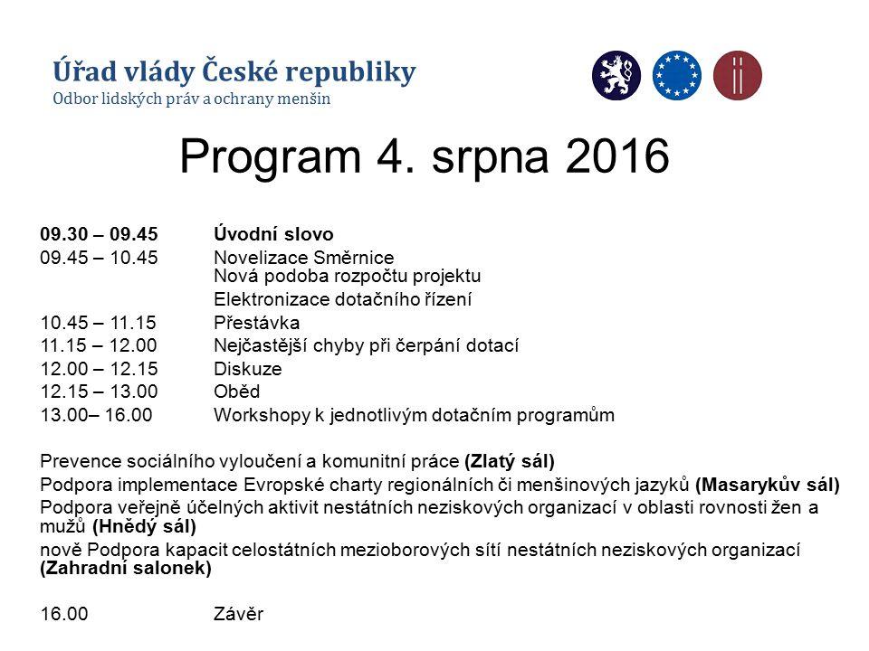 Program 4. srpna 2016 09.30 – 09.45Úvodní slovo 09.45 – 10.45Novelizace Směrnice Nová podoba rozpočtu projektu Elektronizace dotačního řízení 10.45 –