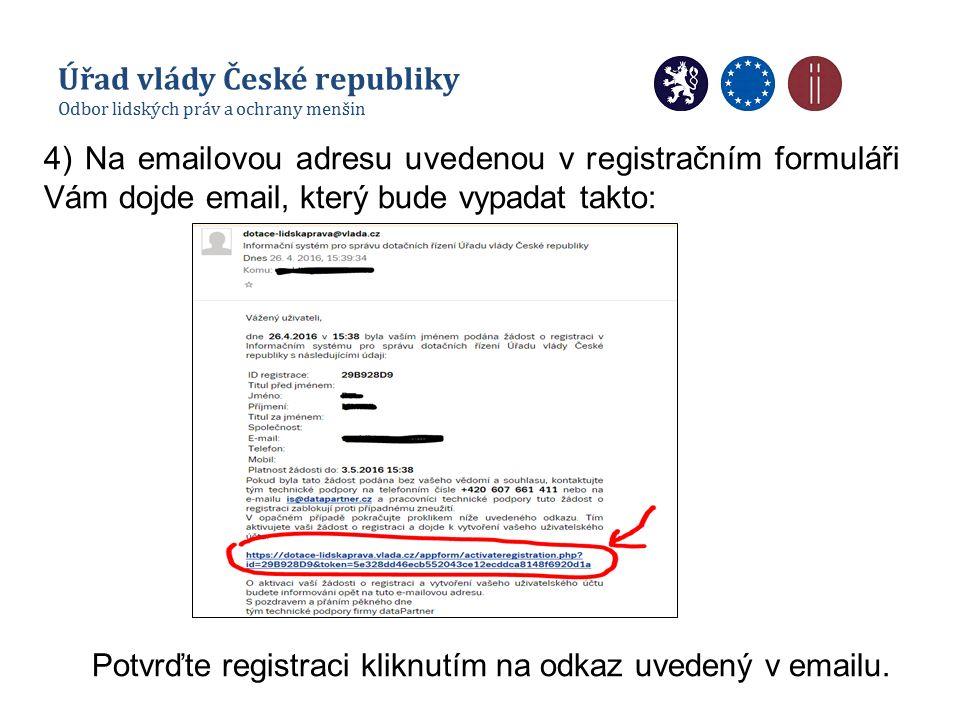 4) Na emailovou adresu uvedenou v registračním formuláři Vám dojde email, který bude vypadat takto: Potvrďte registraci kliknutím na odkaz uvedený v emailu.
