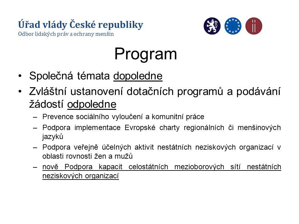 Program Společná témata dopoledne Zvláštní ustanovení dotačních programů a podávání žádostí odpoledne –Prevence sociálního vyloučení a komunitní práce