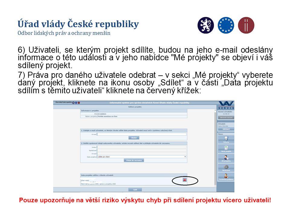 6) Uživateli, se kterým projekt sdílíte, budou na jeho e-mail odeslány informace o této události a v jeho nabídce Mé projekty se objeví i váš sdílený projekt.