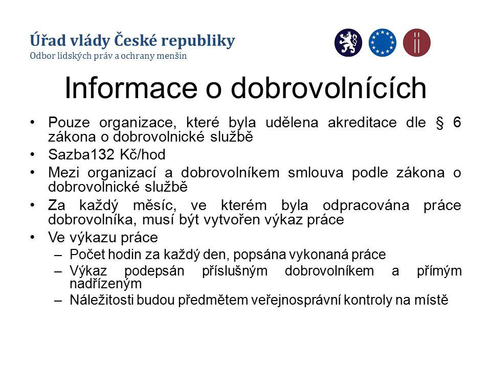 Informace o dobrovolnících Pouze organizace, které byla udělena akreditace dle § 6 zákona o dobrovolnické službě Sazba132 Kč/hod Mezi organizací a dob