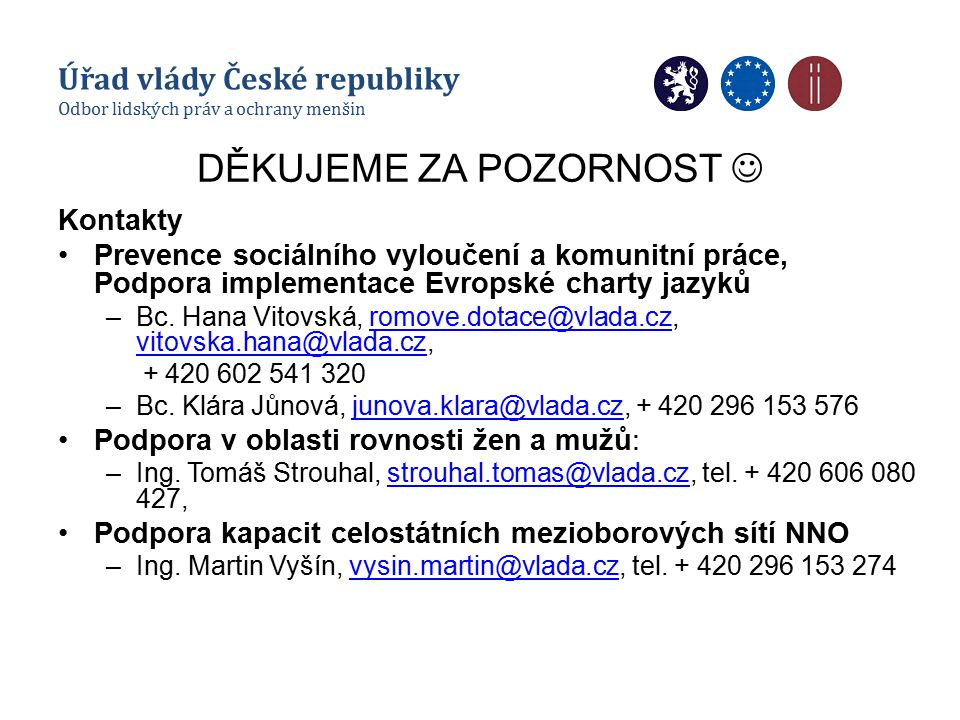 DĚKUJEME ZA POZORNOST Kontakty Prevence sociálního vyloučení a komunitní práce, Podpora implementace Evropské charty jazyků –Bc. Hana Vitovská, romove