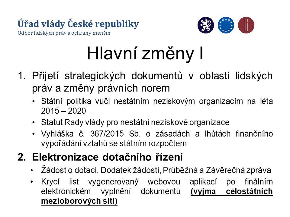 Hlavní změny I 1.Přijetí strategických dokumentů v oblasti lidských práv a změny právních norem Státní politika vůči nestátním neziskovým organizacím