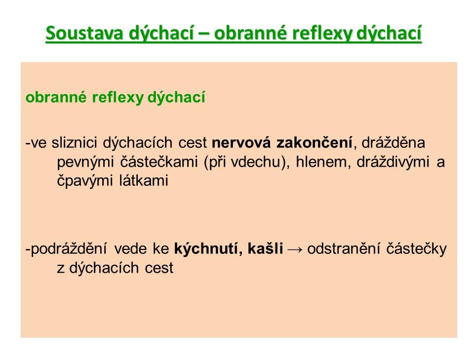 Soustava dýchací – obranné reflexy dýchací obranné reflexy dýchací -ve sliznici dýchacích cest nervová zakončení, drážděna pevnými částečkami (při vdechu), hlenem, dráždivými a čpavými látkami -podráždění vede ke kýchnutí, kašli → odstranění částečky z dýchacích cest