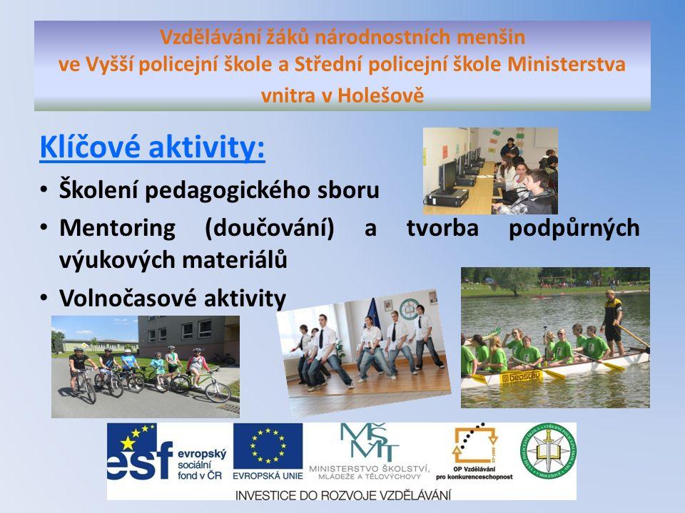 Klíčové aktivity: Školení pedagogického sboru Mentoring (doučování) a tvorba podpůrných výukových materiálů Volnočasové aktivity Vzdělávání žáků národ