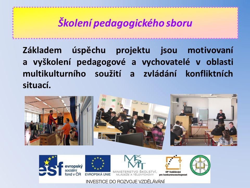 Základem úspěchu projektu jsou motivovaní a vyškolení pedagogové a vychovatelé v oblasti multikulturního soužití a zvládání konfliktních situací. Škol