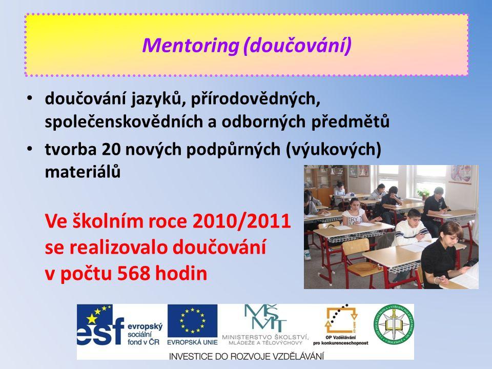 doučování jazyků, přírodovědných, společenskovědních a odborných předmětů tvorba 20 nových podpůrných (výukových) materiálů Ve školním roce 2010/2011 se realizovalo doučování v počtu 568 hodin Mentoring (doučování)