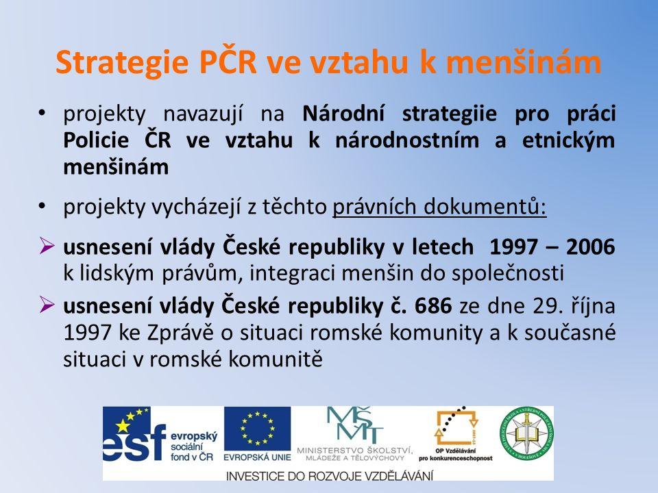 Strategie PČR ve vztahu k menšinám projekty navazují na Národní strategiie pro práci Policie ČR ve vztahu k národnostním a etnickým menšinám projekty
