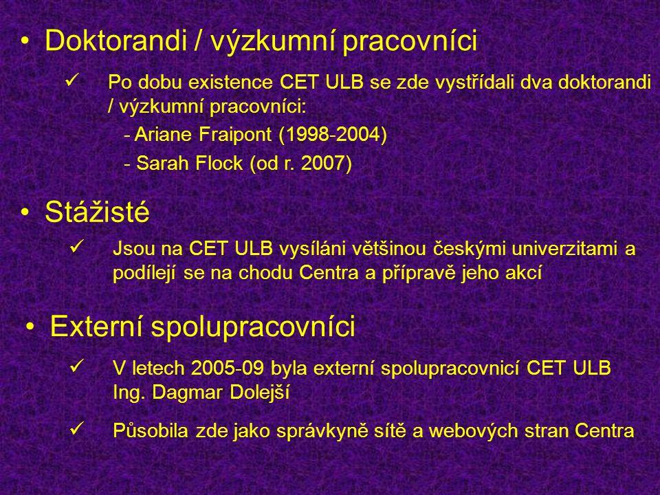 Doktorandi / výzkumní pracovníci Stážisté Po dobu existence CET ULB se zde vystřídali dva doktorandi / výzkumní pracovníci: Jsou na CET ULB vysíláni většinou českými univerzitami a podílejí se na chodu Centra a přípravě jeho akcí - Ariane Fraipont (1998-2004) - Sarah Flock (od r.