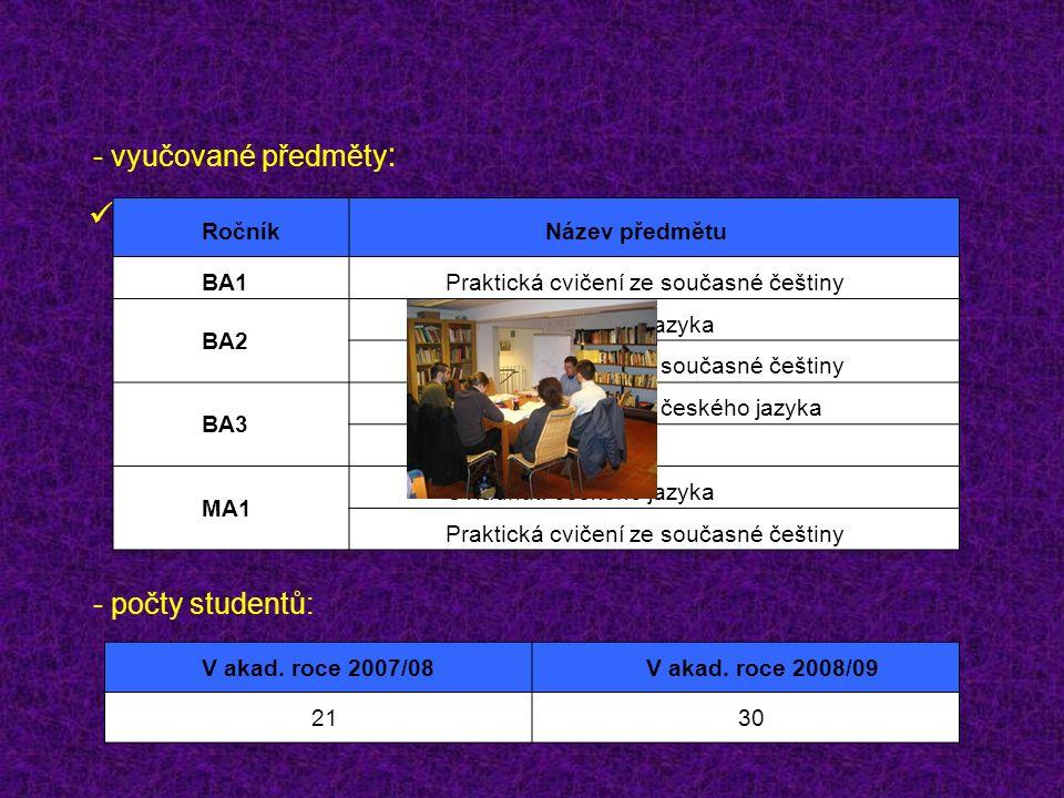 - vyučované předměty : - počty studentů: V akad.roce 2007/08V akad.