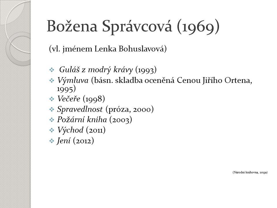 Božena Správcová (1969) (vl. jménem Lenka Bohuslavová)  Guláš z modrý krávy (1993)  Výmluva (básn. skladba oceněná Cenou Jiřího Ortena, 1995)  Veče