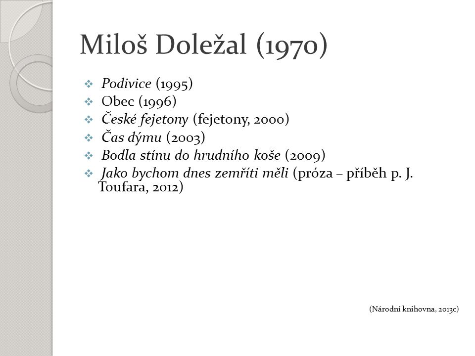 Miloš Doležal (1970)  Podivice (1995)  Obec (1996)  České fejetony (fejetony, 2000)  Čas dýmu (2003)  Bodla stínu do hrudního koše (2009)  Jako