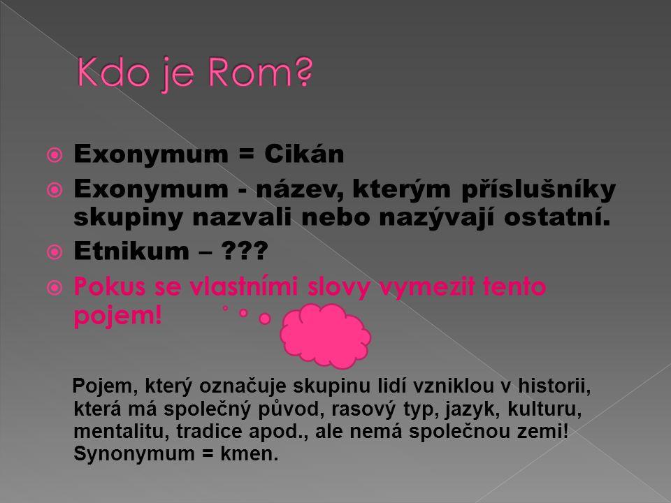  Exonymum = Cikán  Exonymum - název, kterým příslušníky skupiny nazvali nebo nazývají ostatní.