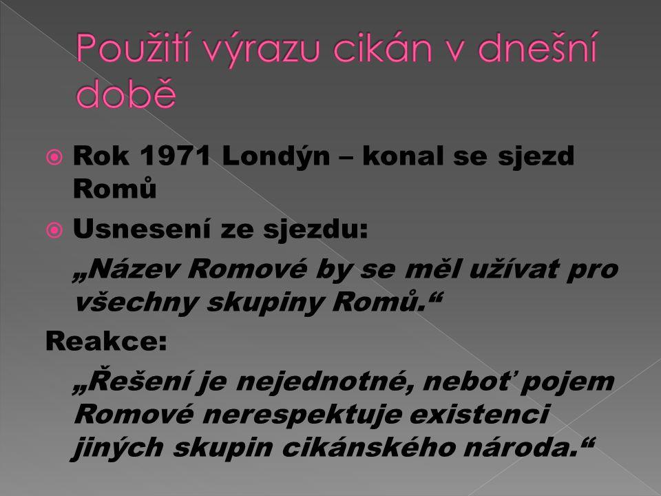 """ Rok 1971 Londýn – konal se sjezd Romů  Usnesení ze sjezdu: """"Název Romové by se měl užívat pro všechny skupiny Romů. Reakce: """"Řešení je nejednotné, neboť pojem Romové nerespektuje existenci jiných skupin cikánského národa."""