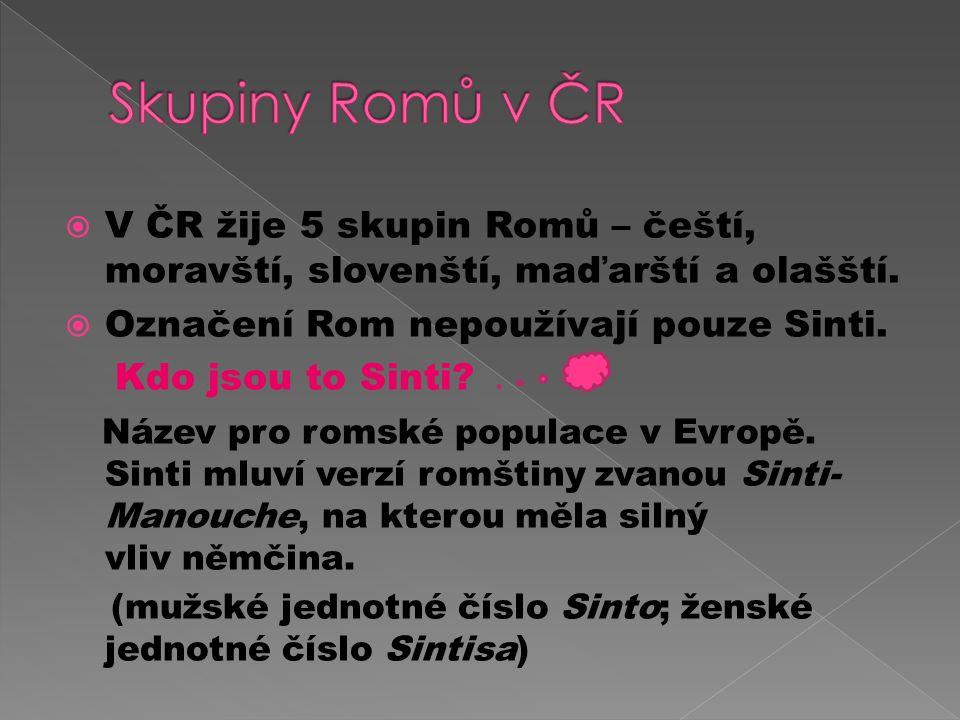  V ČR žije 5 skupin Romů – čeští, moravští, slovenští, maďarští a olašští.
