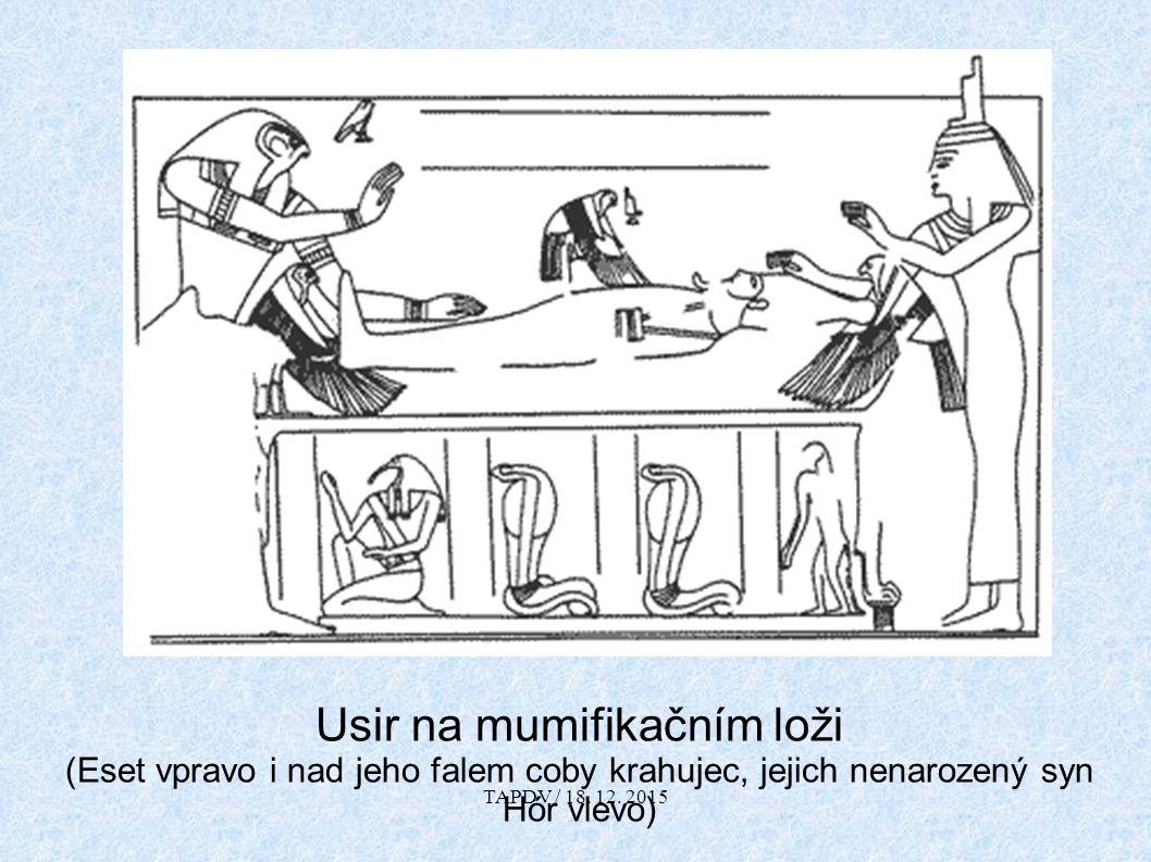 Usir na mumifikačním loži (Eset vpravo i nad jeho falem coby krahujec, jejich nenarozený syn Hór vlevo) TAPDV / 18.