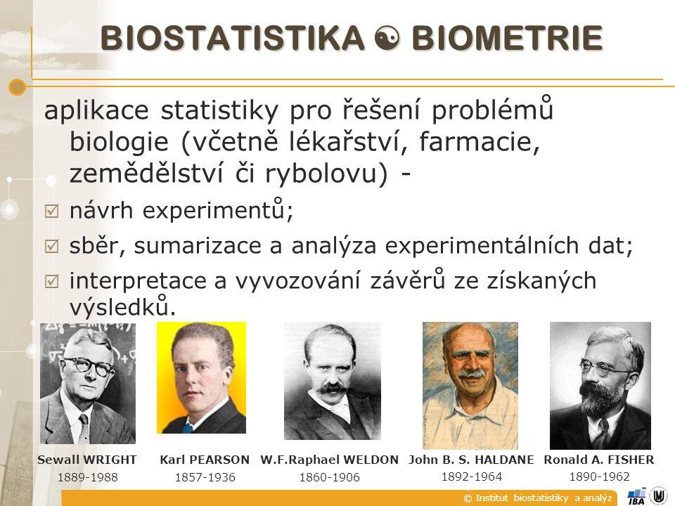 © Institut biostatistiky a analýz aplikace statistiky pro řešení problémů biologie (včetně lékařství, farmacie, zemědělství či rybolovu) -  návrh experimentů;  sběr, sumarizace a analýza experimentálních dat;  interpretace a vyvozování závěrů ze získaných výsledků.