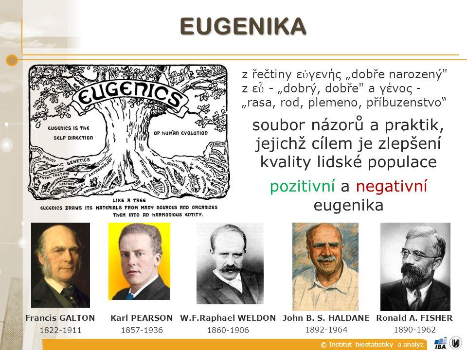 """© Institut biostatistiky a analýz EUGENIKA Francis GALTON 1822-1911 z řečtiny ε ὐ γενής """"dobře narozený z ε ὖ - """"dobrý, dobře a γένος - """"rasa, rod, plemeno, příbuzenstvo soubor názorů a praktik, jejichž cílem je zlepšení kvality lidské populace pozitivní a negativní eugenika W.F.Raphael WELDON 1860-1906 Karl PEARSON 1857-1936 John B."""