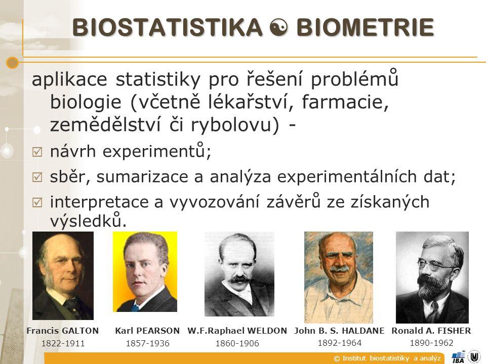 © Institut biostatistiky a analýz BIOSTATISTIKA  BIOMETRIE W.F.Raphael WELDON 1860-1906 Karl PEARSON 1857-1936 John B. S. HALDANE 1892-1964 Ronald A.