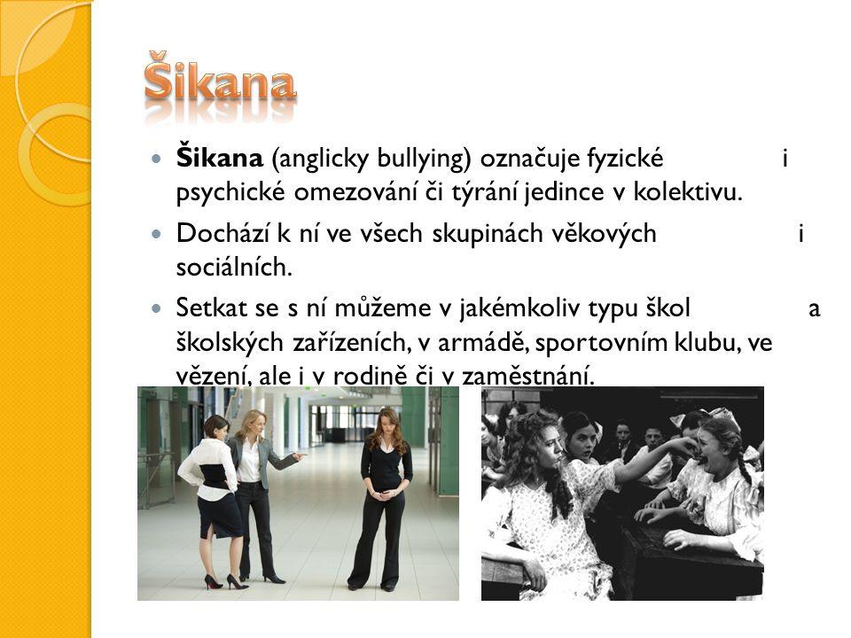 Šikana (anglicky bullying) označuje fyzické i psychické omezování či týrání jedince v kolektivu.