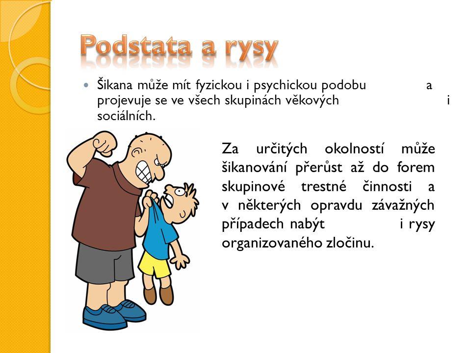 Šikana může mít fyzickou i psychickou podobu a projevuje se ve všech skupinách věkových i sociálních.