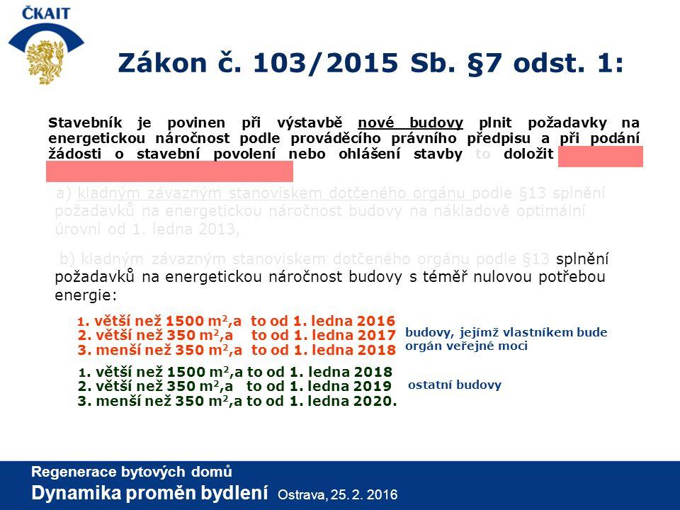 Zákon č. 103/2015 Sb. §7 odst. 1: Stavebník je povinen při výstavbě nové budovy plnit požadavky na energetickou náročnost podle prováděcího právního p