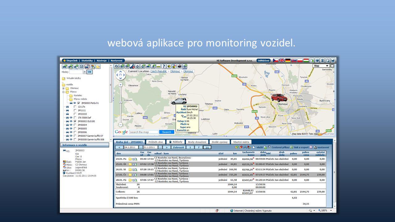 V aplikaci se například monitoruje: Aktuální poloha vozidla Pohyb vozidla – tvorba záznamu knihy jízd Kontrola spotřeby a stavu PHM Rozlišení soukromé a služební jízdy Řidič, který jízdu provádí Využívání služebních vozidel a pracovního času Docházka Vstupy jako zapnutí nástavby, otevření dveří, … Opuštění definované lokality Nutnost navštívení servisu A další …