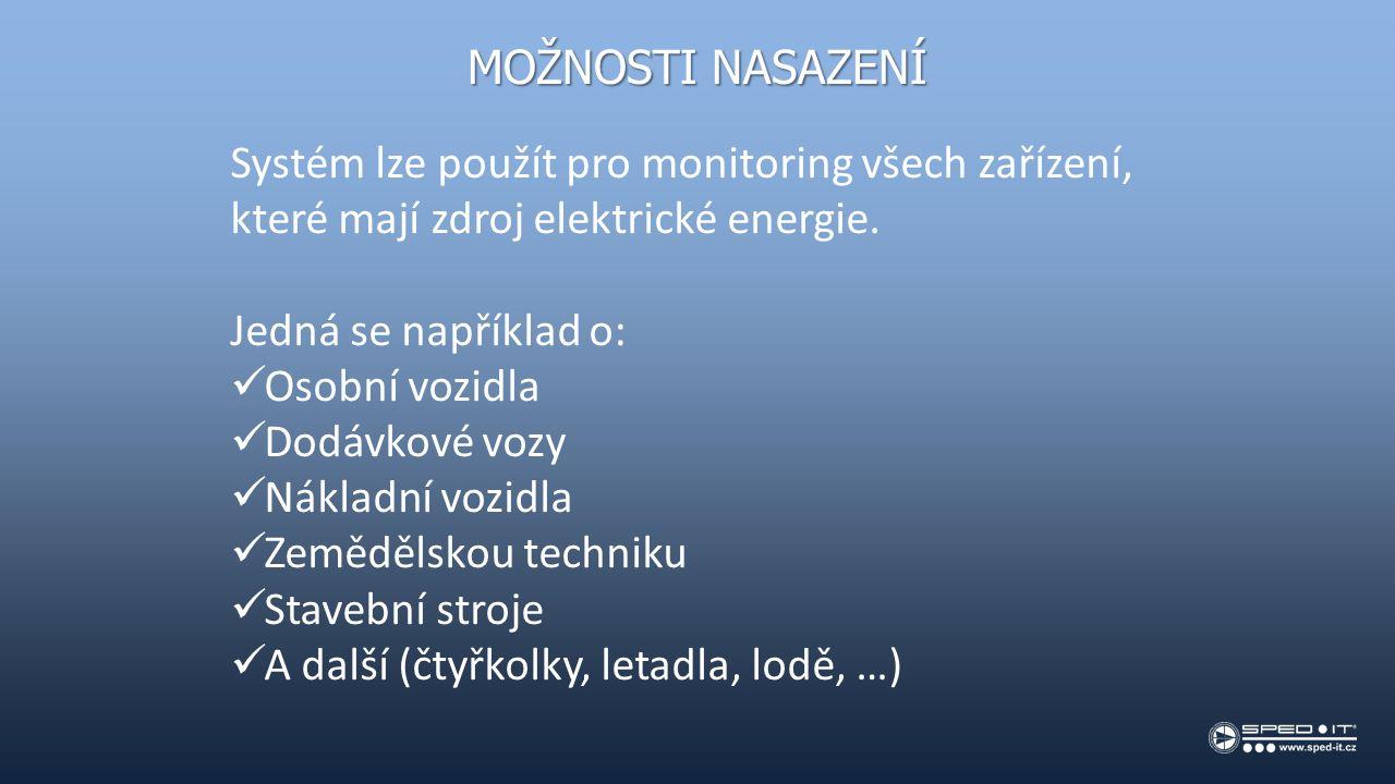MOŽNOSTI NASAZENÍ Systém lze použít pro monitoring všech zařízení, které mají zdroj elektrické energie.