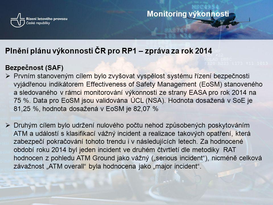 Plnění plánu výkonnosti ČR pro RP1 – zpráva za rok 2014 Bezpečnost (SAF)  Prvním stanoveným cílem bylo zvyšovat vyspělost systému řízení bezpečnosti vyjádřenou indikátorem Effectiveness of Safety Management (EoSM) stanoveného a sledovaného v rámci monitorování výkonnosti ze strany EASA pro rok 2014 na 75 %.