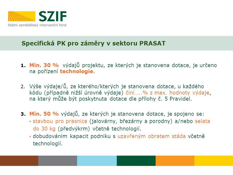 Specifická PK pro záměry v sektoru PRASAT 1. Min.