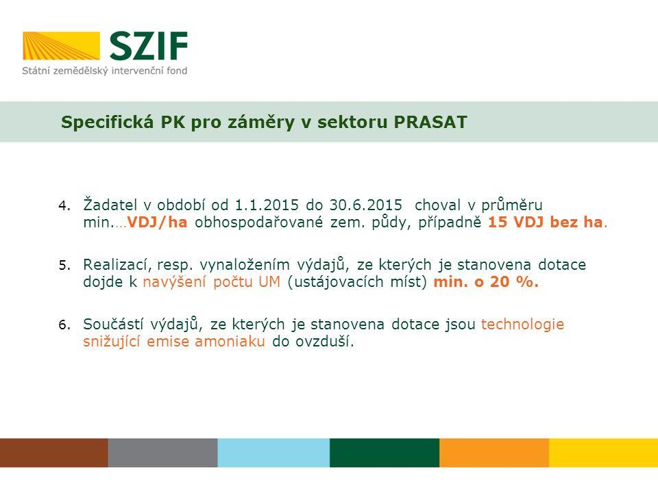 Specifická PK pro záměry v sektoru PRASAT 4.