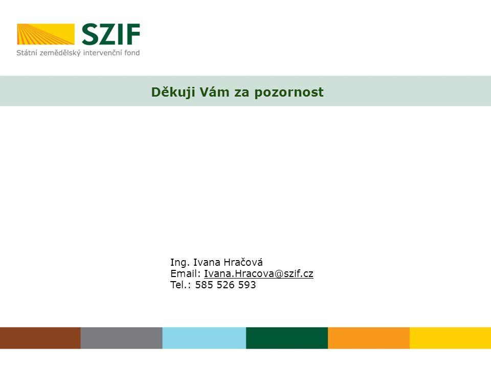 Děkuji Vám za pozornost Ing. Ivana Hračová Email: Ivana.Hracova@szif.cz Tel.: 585 526 593