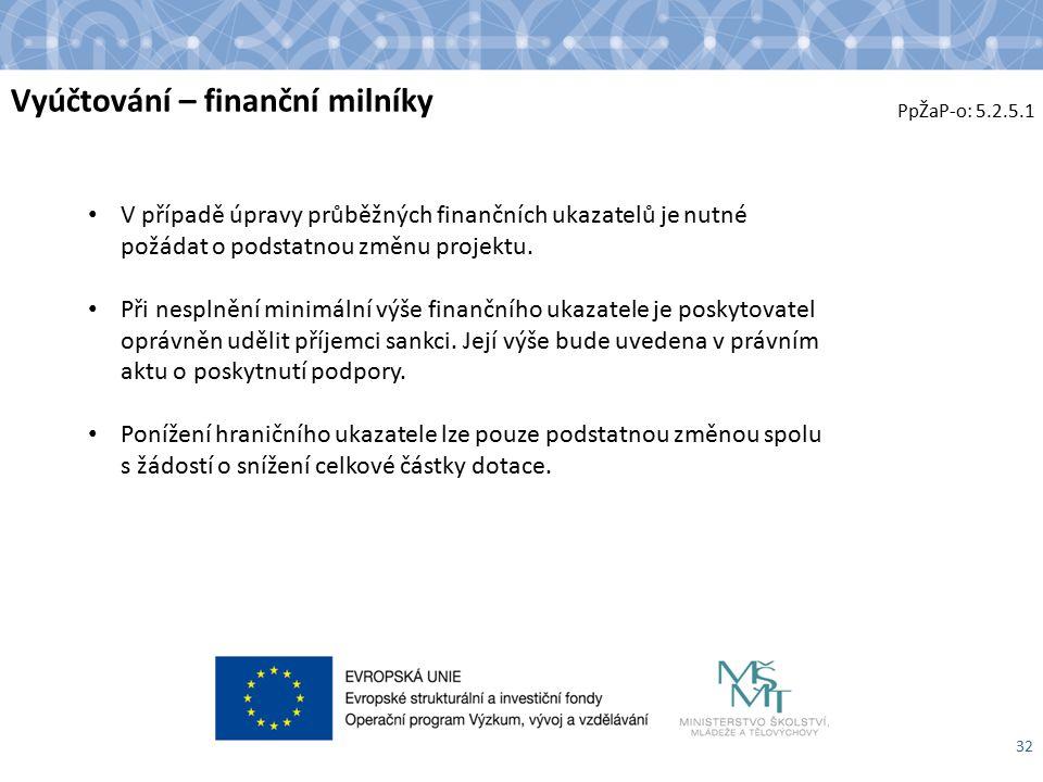 Vyúčtování – finanční milníky 32 V případě úpravy průběžných finančních ukazatelů je nutné požádat o podstatnou změnu projektu.