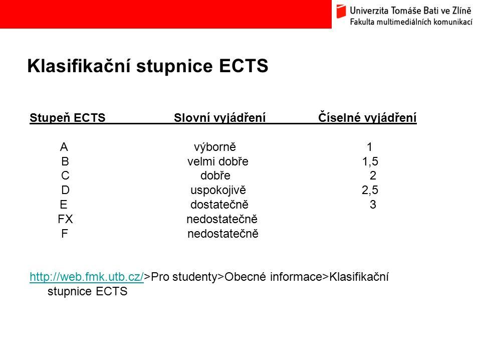 Klasifikační stupnice ECTS Bc.