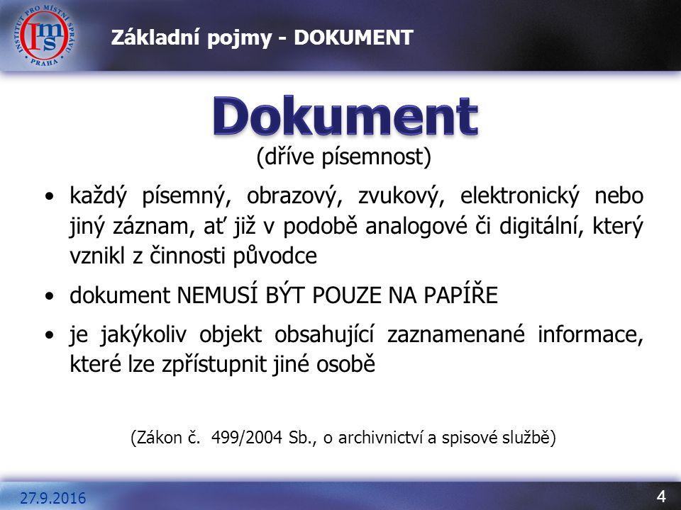 4 Základní pojmy - DOKUMENT (dříve písemnost) každý písemný, obrazový, zvukový, elektronický nebo jiný záznam, ať již v podobě analogové či digitální,