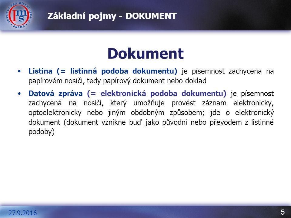 5 Základní pojmy - DOKUMENT Dokument Listina (= listinná podoba dokumentu) je písemnost zachycena na papírovém nosiči, tedy papírový dokument nebo dok