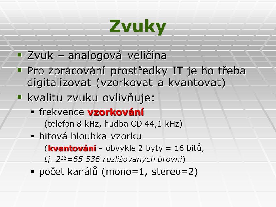 Zvuky  Zvuk – analogová veličina  Pro zpracování prostředky IT je ho třeba digitalizovat (vzorkovat a kvantovat)  kvalitu zvuku ovlivňuje:  frekvence vzorkování (telefon 8 kHz, hudba CD 44,1 kHz)  bitová hloubka vzorku (kvantování – obvykle 2 byty = 16 bitů, tj.