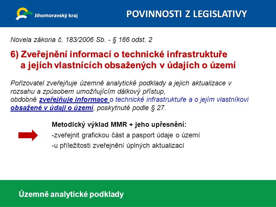 Územně analytické podklady POVINNOSTI Z LEGISLATIVY POVINNOSTI Z LEGISLATIVY Novela zákona č. 183/2006 Sb. - § 166 odst. 2 6) Zveřejnění informací o t